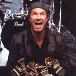 Chad Smith with an armful of awards