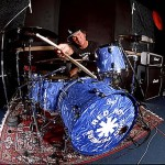 Chad Smith with blue RHCP drum kit