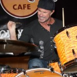 Chad Smith playing drums at the hard rock cafe