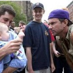 Chad Smith looking hungrily at a baby!