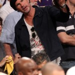 Chad Smith watching basketball game