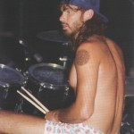 Chad Smith playing drums wearing boxer shorts