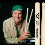 chad smith with signed drumsticks