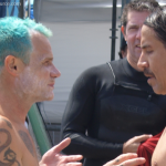 Flea talking to Anthony Kiedis Surfrider September 2010 TheChiliSource