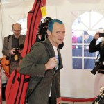 Flea bassist Red Hot Chili Peppers turquoise hair style