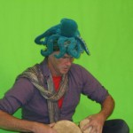 Chad Smith drummer RHCP in green shot as turtle for Fishy video