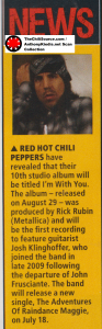 Red Hot Chili Peppers tenth studio album I'm With You