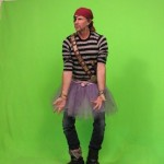 Chad Smith drummer RHCP in green shot as pirate for rhythm train video