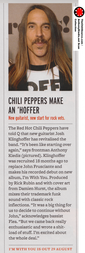 anthony kiedis josh klinghoffer new Red Hot Chili Peppers album