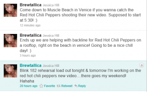 Red Hot Chili Peppers tweet about recording new video