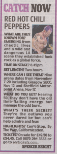 Daily Mail UK newspaper Red Hot Chili Peppers tour 2011 information