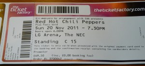 Ticket Red Hot Chili Peppers Birmingham LG Arena 20th November 2011