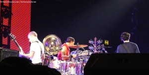 Red Hot Chili Peppers on stage LG Arena Birmingham 20th november 2011
