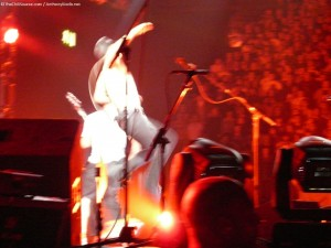 Anthony Kiedis Leaping into air live at Birmingham LG Arena