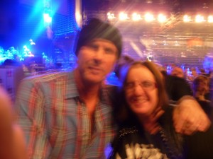 Chad Smith Red Hot Chili Peppers drummer with fan LG Arena Birmingham 20th November 2011