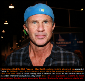 Chad Smith says Red Hot Chili peppers to annouce US tour dates in December
