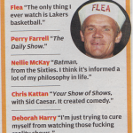 Flea Red Hot Chili Peppers favorite TV program