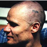 Red Hot Chili peppers name Flea tattoo on head