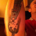 Flea red hot chili peppers tattoo drawn by daughter Sunny Bebop
