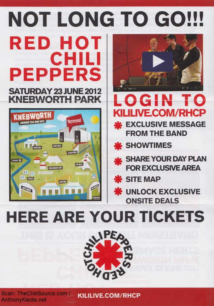 red hot chili peppers knebworth england concert leaflet